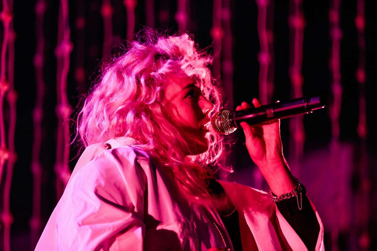 Megan James, vocalist of Purity Ring performs during the second day of the Treasure Island Music Festival in San Francisco, California, on Sunday, Oct. 16, 2016.
