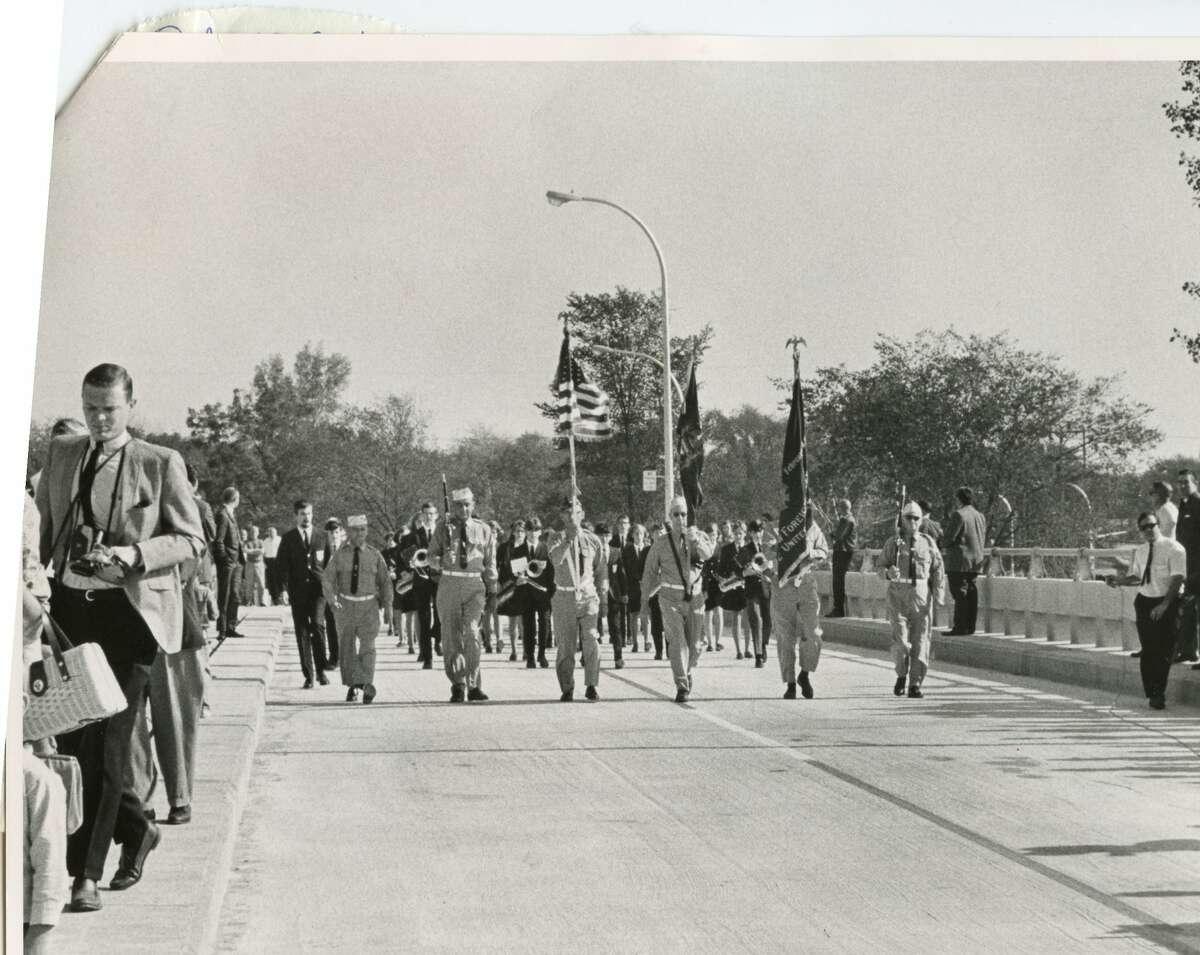 Veterans on Mark E. Putnam Bridge at dedication. October 1968