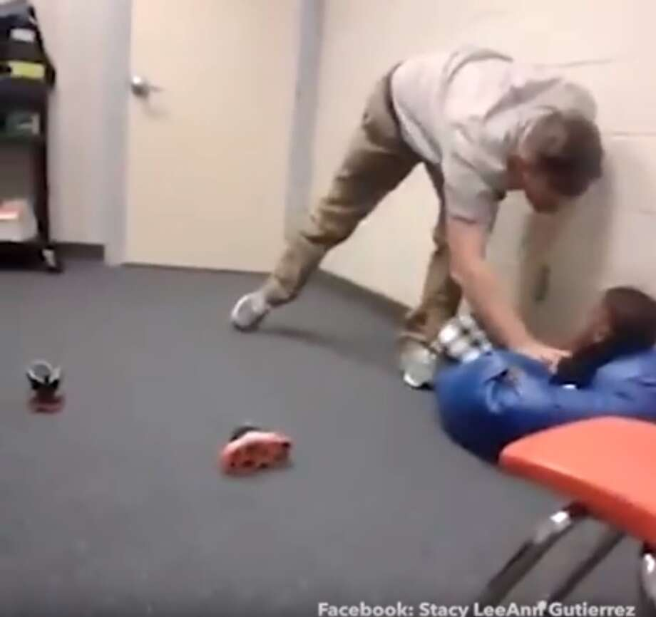 Troy, a former behavior specialist for Snook ISD, was fired from the district after a student reported an incident that was caught on video showing Vann throwing a student into a bean bag chair. The district announced he was fired Oct. 15, 2016. Photo: Courtesy/YouTube Screengrab