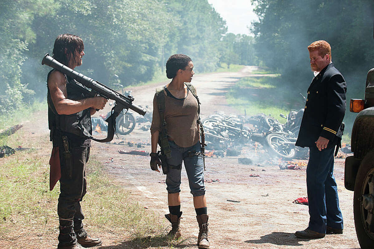 Meanwhile, out on the road, Daryl, Sasha and Abraham are stopped by a motorcycle gang, members of The Saviors, who insist that they hand over all of their weapons and supplies -- they now belong to their leader, Negan. Daryl has other ideas and kills them all with an RPG. No Way Out