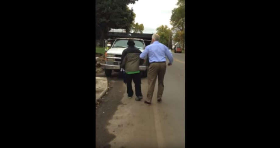 FILE - A screengrab of a YouTube video shows the Oct. 12, 2016 arrest of Larnie B. Thomas in Edina, Minn. An officer arrested Thomas on accusations he was walking down the middle of a busy suburban road whilst impaired. The video has sparked outrage online. Photo: Janet Rowles