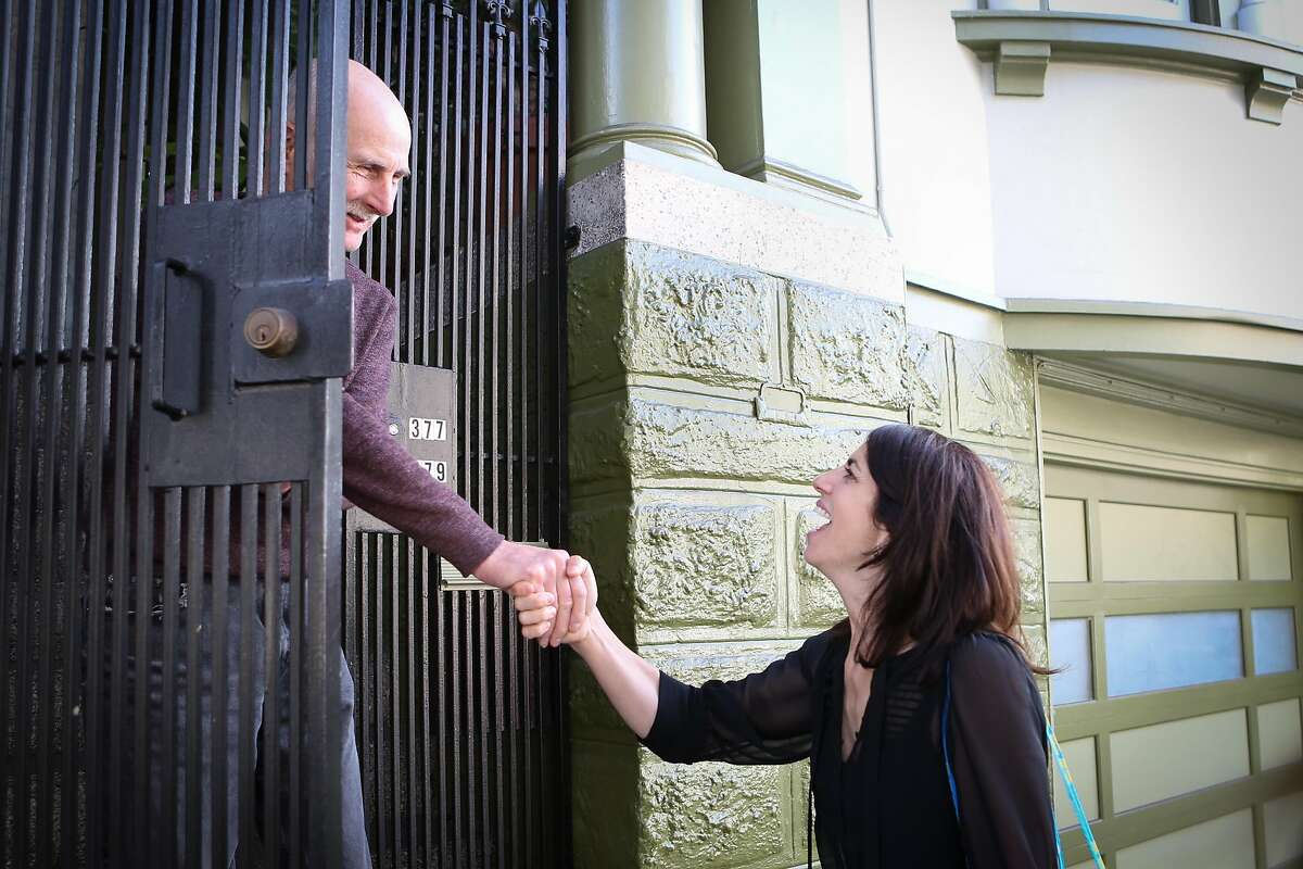 D9 Supervisor candidate, Hillary Ronen, introduces herself to resident Steven Fowler in the Mission neighborhood on Saturday, Oct. 15, 2016 in San Francisco, Calif.
