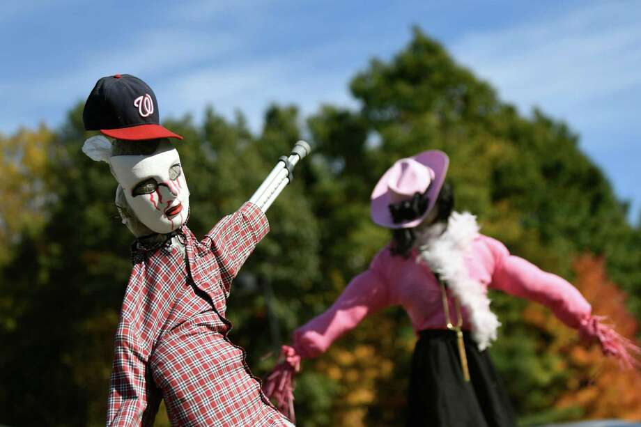 Students' scarecrows welcome guests to the Vanderheyden Fall Festival on Saturday, Oct. 15, 2016, at Vanderheyden Hall in Wynantskill, N.Y. (Cindy Schultz / Times Union) Photo: Cindy Schultz / Albany Times Union