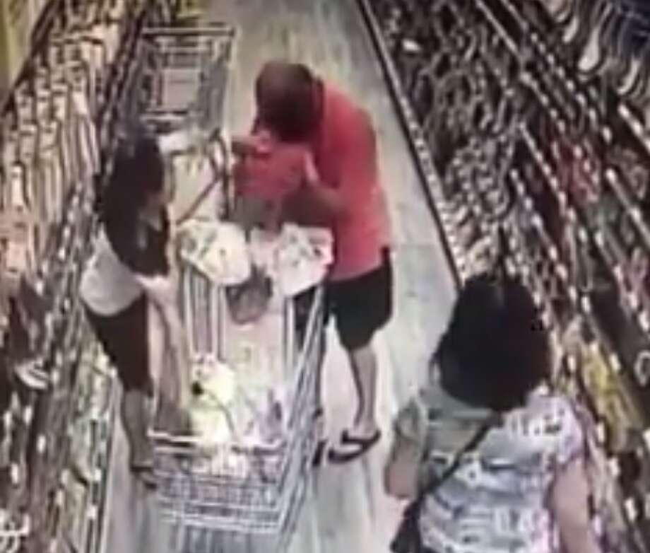 Florence Monauer posted surveillance video from a Houston H-Mart. She says the man seen on the video tried to abduct her child. 