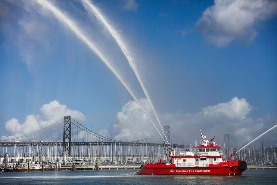 A new SFFD fireboat named St. Francis performs its water show after being unveiled in a ceremony outside AT&T Park, in San Francisco, California, on Monday, Oct. 17, 2016. Photo: Gabrielle Lurie, The Chronicle