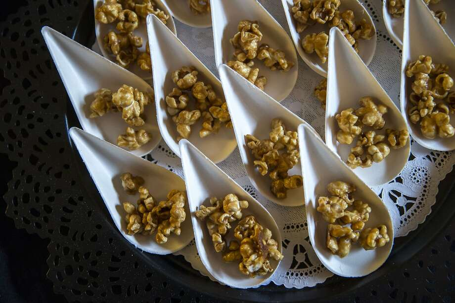 "Cannabis caramel corn from Auntie Dolores, a vendor during a book party for Joe Dolce's ""Brave New Weed"" at Meadow Oct. 14. Photo: Santiago Mejia, The Chronicle"