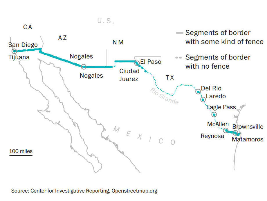 Little of the border fence separating the United States from Texas is found along the Texas-Mexico border. However, a majority of detentions are made in that area. Photo: Washington Post