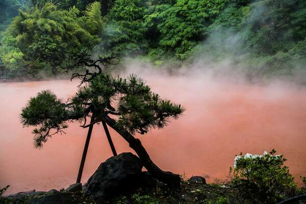 BEPPU, OITA, JAPAN - 2016/05/16: Chinoike Jigoku or blood pond hell is the second most attractive hell at Beppu featuring a red pond surrounded by Japanese pine trees.  As the best of the best, after Umi, it needs no extra cheesy attractions.  Chinook and Umi Jigoku are by far the most attractive hells of Beppu.  The hells or jigoku of Beppu are made up of hot springs for viewing rather than bathing in.  Visitors may not touch the boiling water as it would be rather dangerous as temperatures can go up beyond 60C.  Most of the hells are presented to visitors in a touristy fashion, that is extra attractions such as piranhas and crocodiles. (Photo by John S Lander/LightRocket via Getty Images)