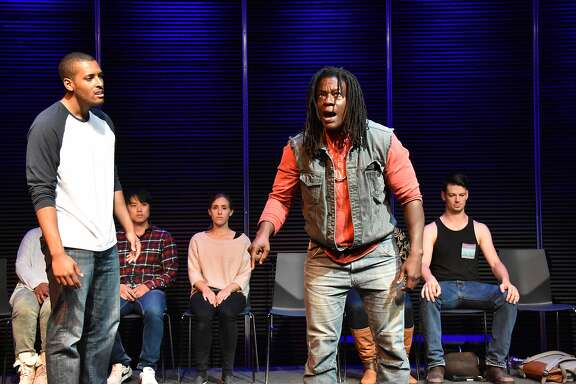 William Bryant Jr. (left) and�Skyler Cooper in��Every 28 Hours,� a collaboration among�FaultLine Theater, American Conservatory Theater, Campo Santo, Crowded Fire Theater, Lorraine Hansberry Theatre and Berkeley Rep.