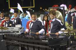 Percussionists with the Plainview High Powerhouse of the Plains Band await their cue during the band's halftime performance at the PHS Homecoming game on Sept. 20. The band will be competing for its 79th consecutive Division I rating the annual UIL marching competition on Saturday, Oct. 22, at Lowrey Field in Lubbock. The band, which is under the direction of Anthony Gonzales, is scheduled to step off at 11 a.m.