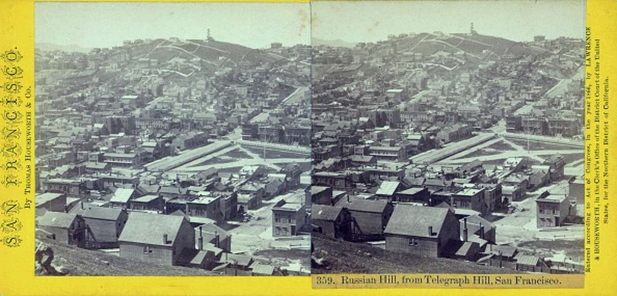 Russian Hill, from Telegraph Hill, San Francisco, 1900. From the New York Public Library. (Photo by Smith Collection/Gado/Getty Images).
