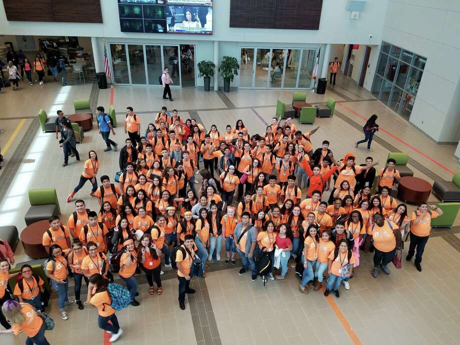 Career & Technical High School students wear new orange T-shirts sponsored by Neighbors Emergency Center in Pasadena.