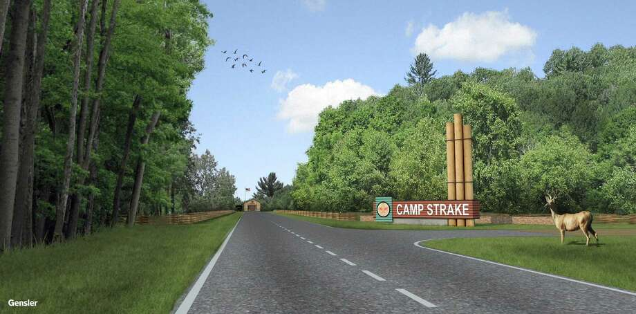 This artist's rendering shows how the entrance to Camp Strake will appear.