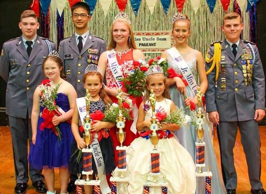 The 40th anniversary of the Uncle Sam Pageant was held last month sept at St. Augustine?s Church hall in Troy. First row, from left, honorary Miss Uncle Sam Nellie McCann, Young Miss Uncle Sam Jaylynn Harmon, Little Miss Uncle Sam Evelyn Rituno. The second row shows Cadet Robert Wurtz, Cadet Ryan Ma, Miss Uncle Sam Mary Beth McDade, Junior Miss Uncle Sam Layla Mujalli and Col. Ben Santandera III. (Lori Lewis Photography)
