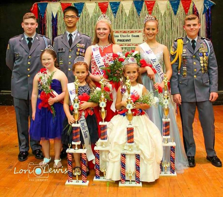The 40th anniversary of the Uncle Sam Pageant was held on Friday Sept. 9 at St.Augustine's church hall in Troy. First row, from left, honorary Miss Uncle Sam Nellie McCann,Young Miss Uncle Sam Jaylynn Harmon,Little Miss Uncle Sam Evelyn Rituno. Second row, from left, Cadet Robert Wurtz,Cadet Ryan Ma,Miss Uncle Sam Mary Beth Mc Dade,Jr Miss Uncle Sam Layla Mujalli,Colonel Ben Santandera III. ORG XMIT: vV8CP7JBPGxQqZHkpKJX