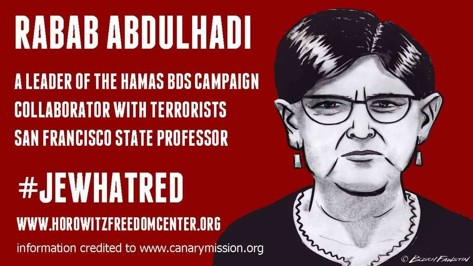 An illustration of one of the posters distributed at San Francisco State University last week accusing a professor of terrorism. Photo: Bosch Fawstin / /David Horowitz Freedom Center
