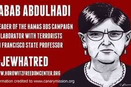 An illustration of one of the posters distributed at San Francisco State University last week accusing a professor of terrorism.