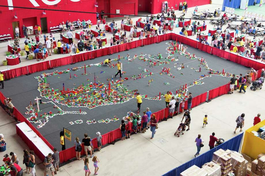 "Creation Nation begins as the outline of the United States. LEGO KidsFest attendees start with a 5x5"" baseplate, then build their creations with the provided LEGO brick. The map fills in as the weekend progresses. Following the event, photos of the finished map can be found Twitter and Facebook. Photo: Lego KidsFest, Creative Director / David E Frith"