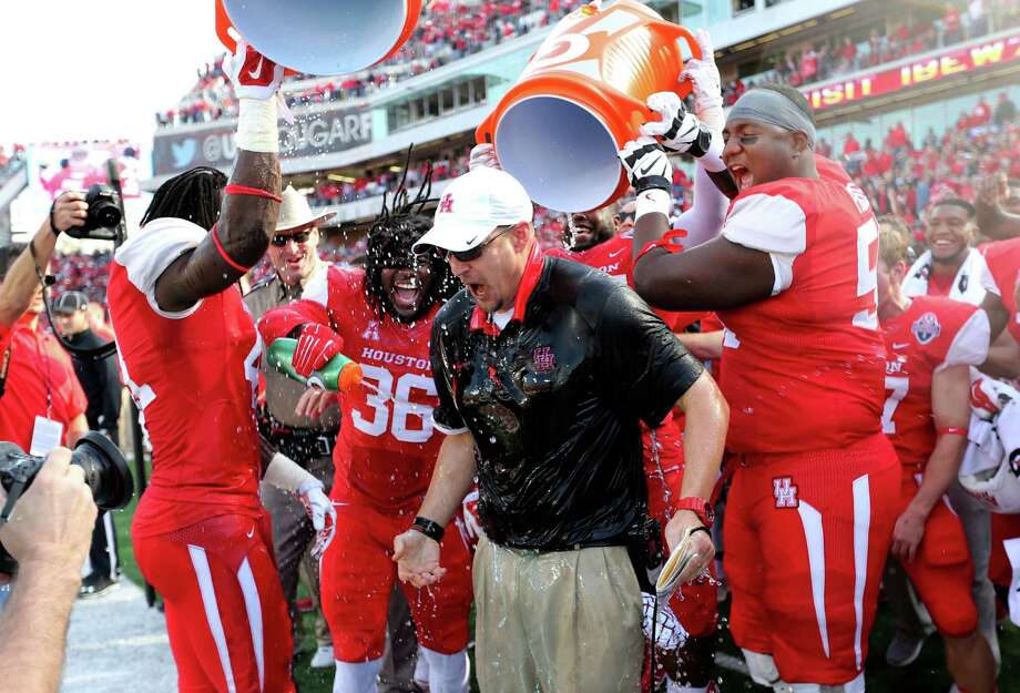 Tom Herman soaked up an American Athletic title in his first season at UH, but will that perennial goal be enough to stir Herman's intense competitive juices? Photo: Gary Coronado, Staff / © 2015 Houston Chronicle