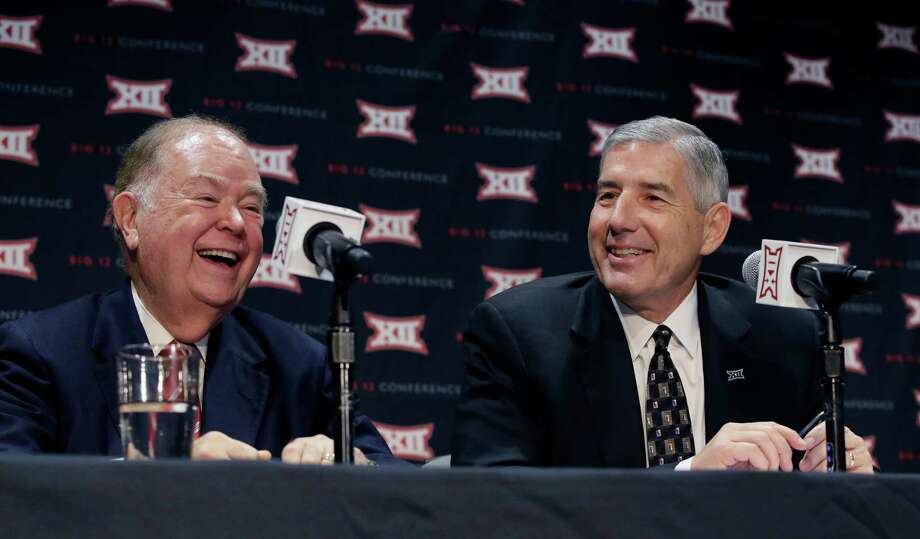 Oklahoma President David Boren, left, and Big 12 Commissioner Bob Bowlsby laugh during a news conference after The Big 12 Conference meeting in Grapevine, Texas,  Monday, Oct. 17, 2016. (AP Photo/LM Otero) Photo: LM Otero, Associated Press / AP