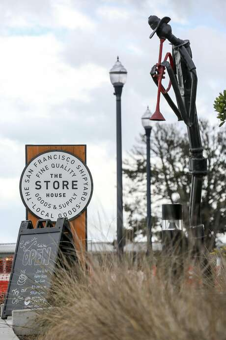 An outdoor sculpture is displayed near The Store House in the The Shipyard, a large new housing development on former Hunters Point Naval Shipyard, in San Francisco on Saturday, Oct 15, 2016. Photo: Amy Osborne, Special To The Chronicle