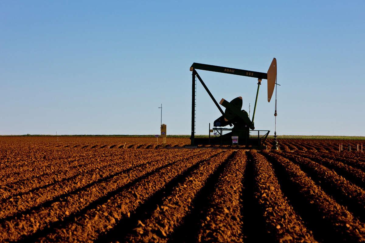 Apache Corporation, pump jacks in the Adair San Andreas Unit, Welch, TX.