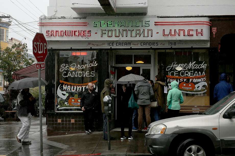St. Francis Fountain, at 24th and York streets in the Mission, still draws a crowd for its classic diner items, vegan offerings, soda fountain and candy counter. Photo: Liz Hafalia, The Chronicle