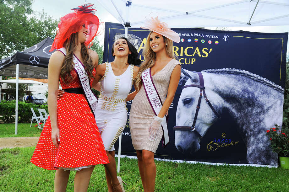 Hillary Virla, Miss Teen Latina, pageant director Natalia Castillo and Miss Latina Alina Guerrero are going to the Haras Cup Hat contest. Photo: Tony Gaines