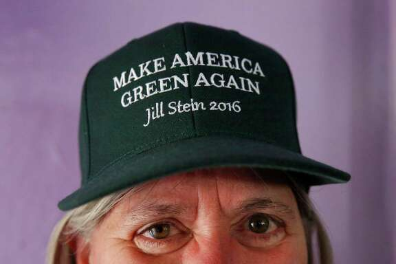 Priscilla Rich poses for a portrait as she waits for Green Party presidential candidate Jill Stein to show up during a rally in Humanist Hall Oct. 6, 2016 in Oakland, Calif.