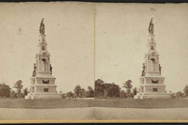 Soldiers Monument at Seaside Park in Bridgeport, Conn., circa 1875.