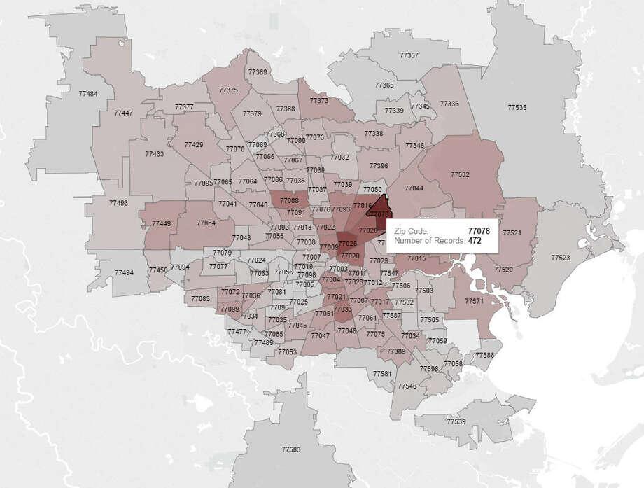Zip code:77078 Number of sex offenders:472 Photo: Tableau