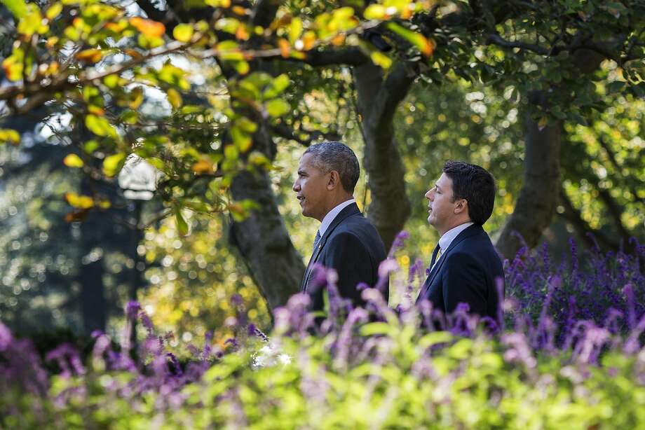 "President Barack Obama and Italian Prime Minister Matteo Renzi arrive for a joint news conference in the Rose Garden at the White House in Washington, Oct. 18, 2016. During the news conference, Obama said that Donald Trump should ""stop whining and go try to make his case to get votes."" (Al Drago/The New York Times) Photo: AL DRAGO, NYT"