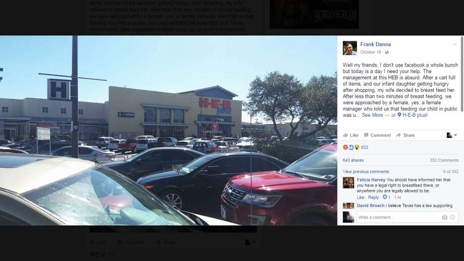 A San Antonio couple's Facebook post about a breastfeeding incident at the 150 N. Loop 1604 H-E-B on Sunday, Oct. 16, 2016, has gone viral. Photo: Facebook/Frank Danna