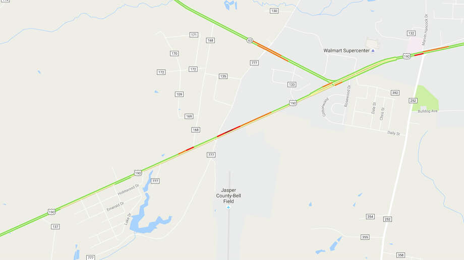U.S. 190 west of Jasper is closed in both directions due to a crash, according to the Texas Department of Transportation. Photo: Google Maps