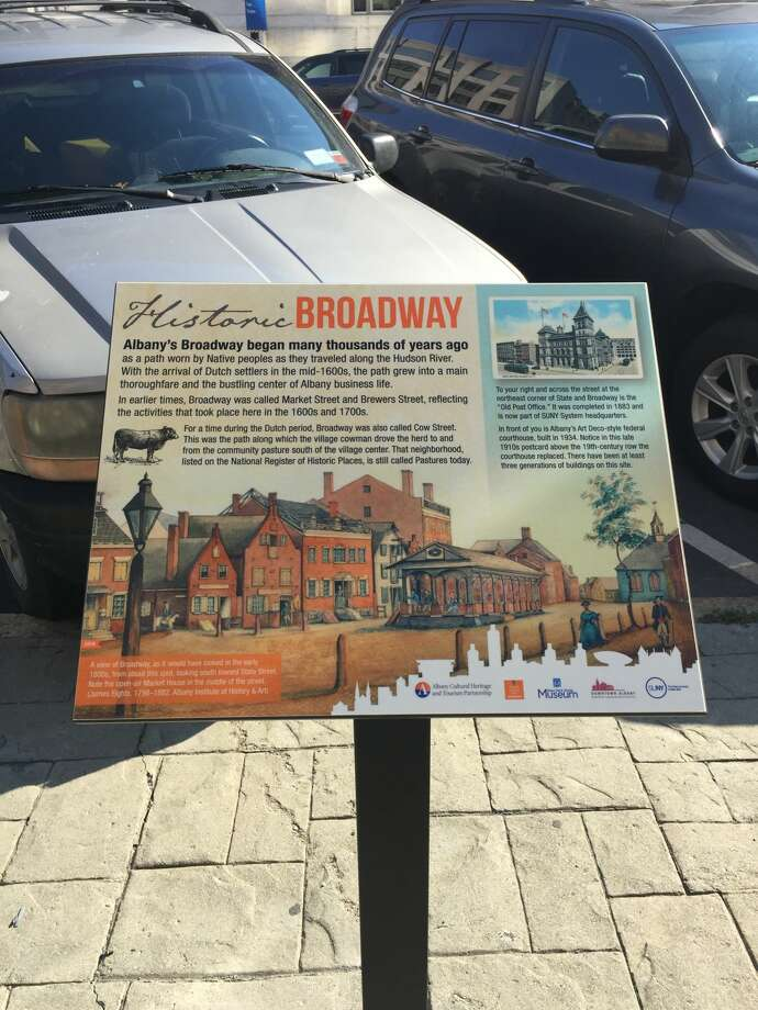 An Albany BID staff member snapped these photos of the new Signs of Greatness: Albany Stories panels on Tuesday, Oct. 18, 2016 in downtown Albany.  Photo: Albany BID