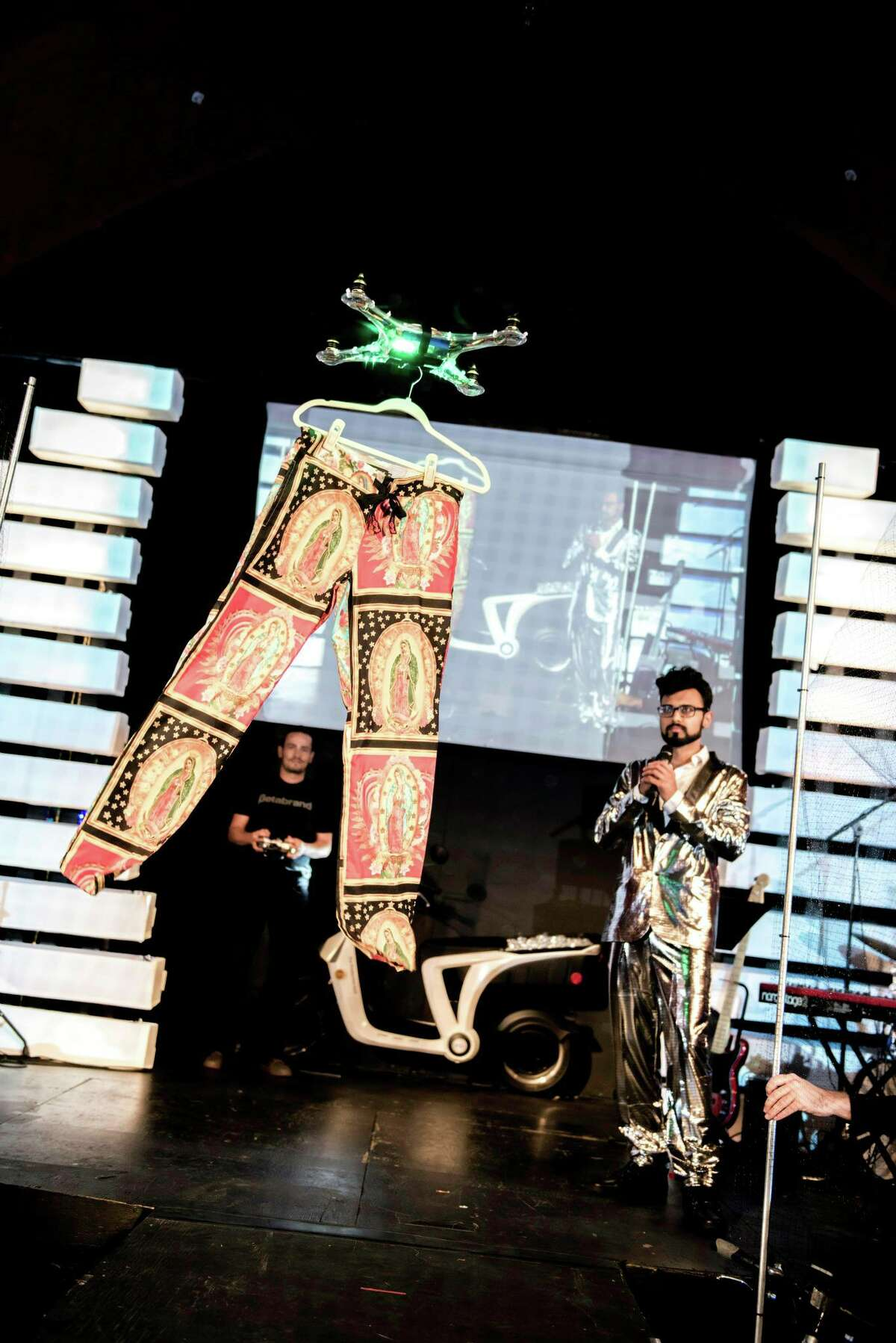 A drone flies pants down the runway at Silicon Valley Fashion Week?! in 2015.