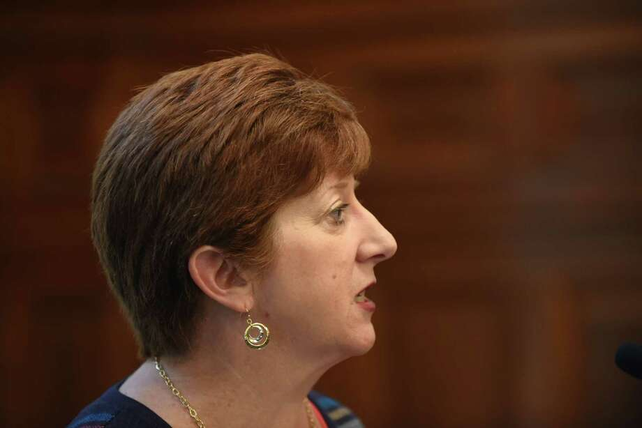 Albany Mayor Kathy Sheehan delivers her 2017 budget proposal on Monday, Oct. 3, 2016, at the City Hall in Albany, N.Y. (Will Waldron/Times Union) Photo: Will Waldron / 40038242A