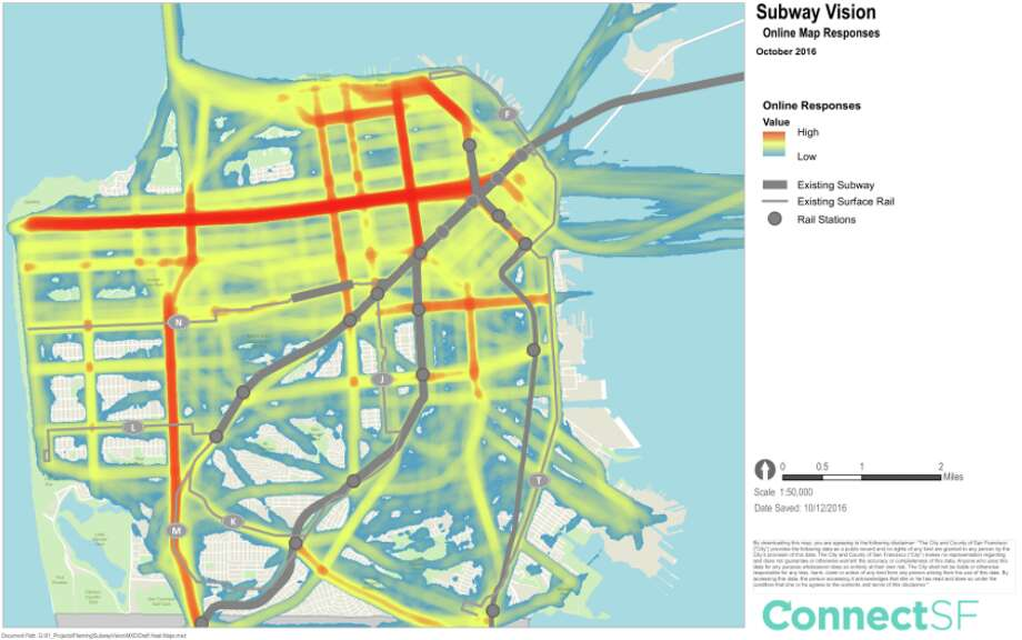 Here's where San Franciscan would like to see new subway lines according to a survey by SFMTA's Connect SF taken in 2016. Photo: Connect SF