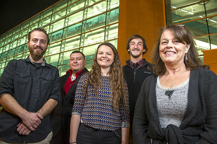 Members of the travel team, including SIUE students, from left, Julian Chastain, Alejandro Alvarez, Sarah Lepp, Caleb Mau and Mustard Seed Peace Project President Terri Cranmer. Photo: SIUE Photo