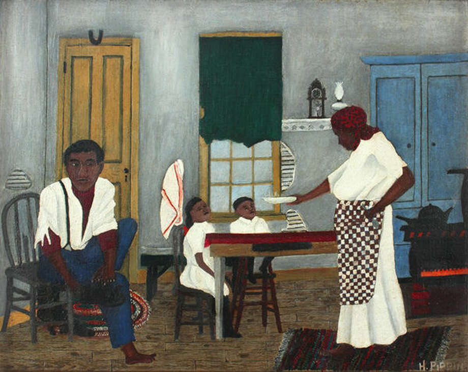 Horace Pippin, American, 1888-1946; Sunday Morning Breakfast, 1943; oil on fabric; 16 x 20 inches; Saint Louis Art Museum, Museum Funds; Friends Fund; Bequest of Marie Setz Hertslet, Museum Purchase, Eliza McMillan Trust, and Gift of Mrs. Carll Tucker, by exchange  164:2015;  Image courtesy Alexandre Gallery, New York.