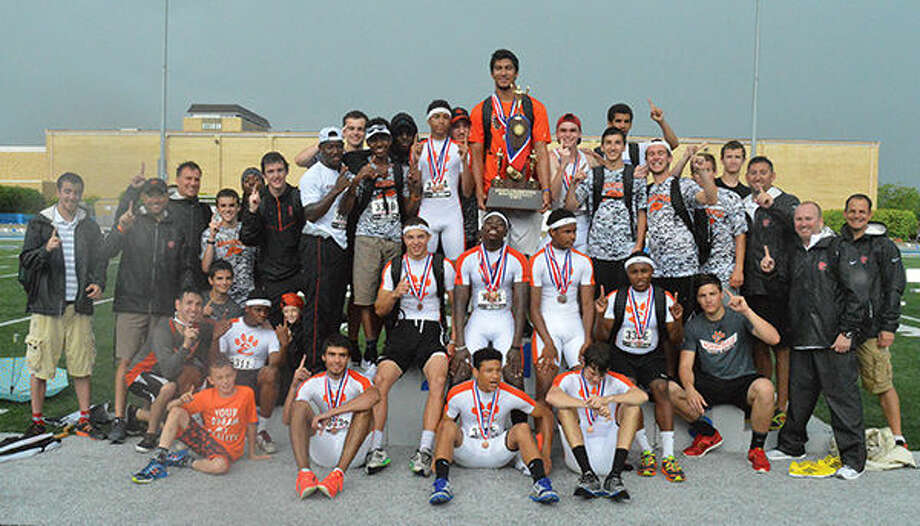 The Edwardsville Tiger boys' track and field team celebrates its Illinois Class 3A state championship Saturday afternoon in Charleston. EHS scored 55 points to win the program's first-ever state championship. A complete recap appears here. Photo: Evan Meyers/Intelligencer