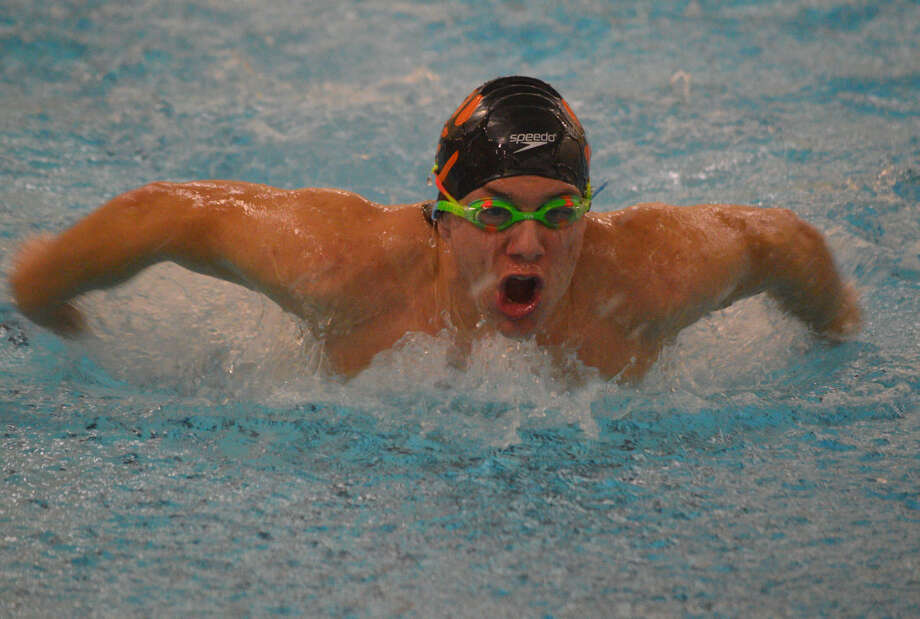 EHS sophomore Zac Ballossini competes in the 110-yard butterfly at the Chuck Fruit Aquatic Center.