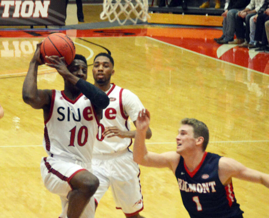 SIUE freshman Carlos Anderson, from Alton, drives to the basket during the first half of Wednesday's game against Belmont at the Vadalabene Center.