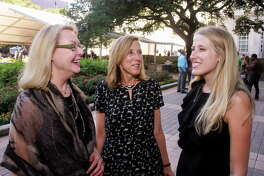 Jeri Nordbrock, from left, Jan Schroder and Catherine Butsch at the Houston Parks Board luncheon.  (For the Chronicle/Gary Fountain, October 18, 2016)