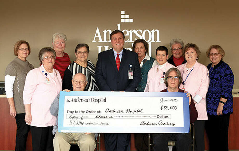 Anderson Hospital Auxiliary Board Members recently presented a check for $85,000 to Anderson Hospital President and CEO, Keith Page. Photo: Carmen Schuette