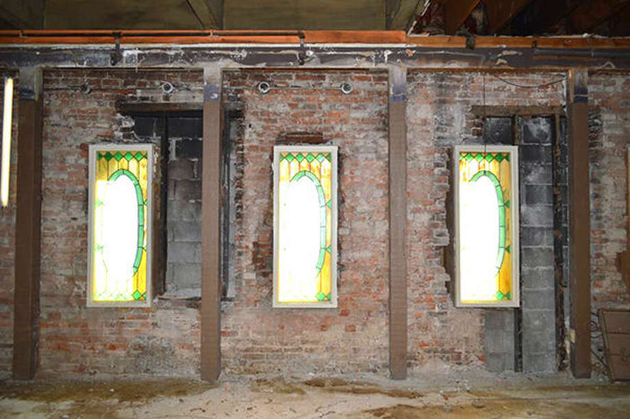 The brick wall uncovered inside Rusty's Restaurant was once part of the Pogue Store, which dates back to 1819 and was the first brick building in Edwardsville. Photo: For The Intelligencer