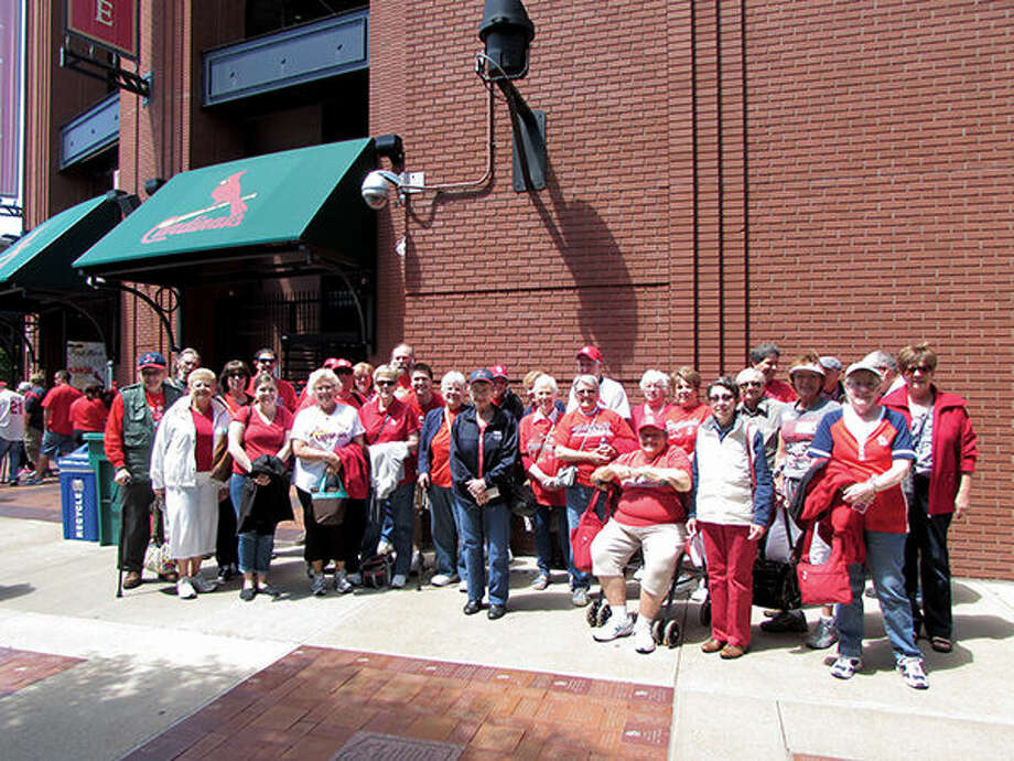 Participants in the YMCA's Active Older Adult program line up outside Busch Stadium last season for a Cardinals' game.