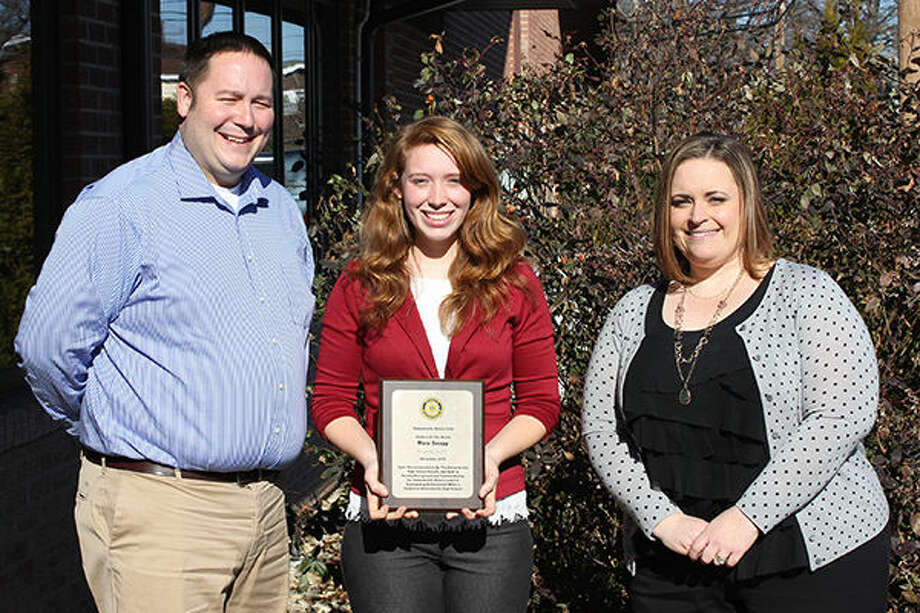 From left: John Davin, Edwardsville High School Business/Applied Technology Department and nominating teacher; Mara Swapp, Edwardsville High School awarded student and and Jennifer Warren of First Clover Leaf Bank. Photo: For The Intelligencer
