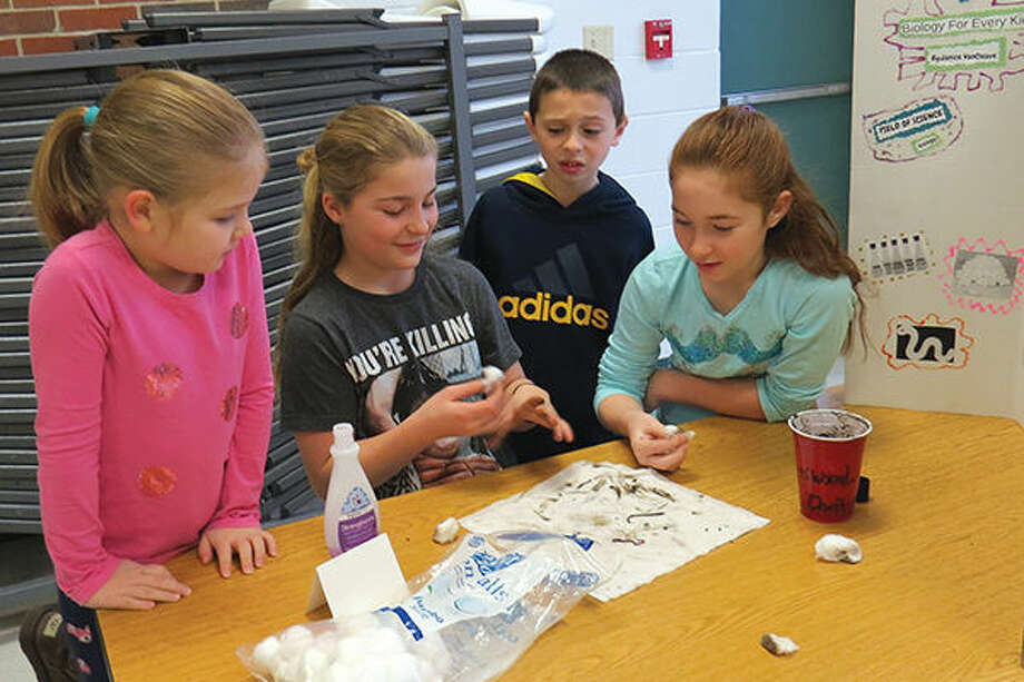 Trinity Lutheran School fifth-grade students examine earthworms as they present their science projects. Photo: Carol Arnett/Intelligencer