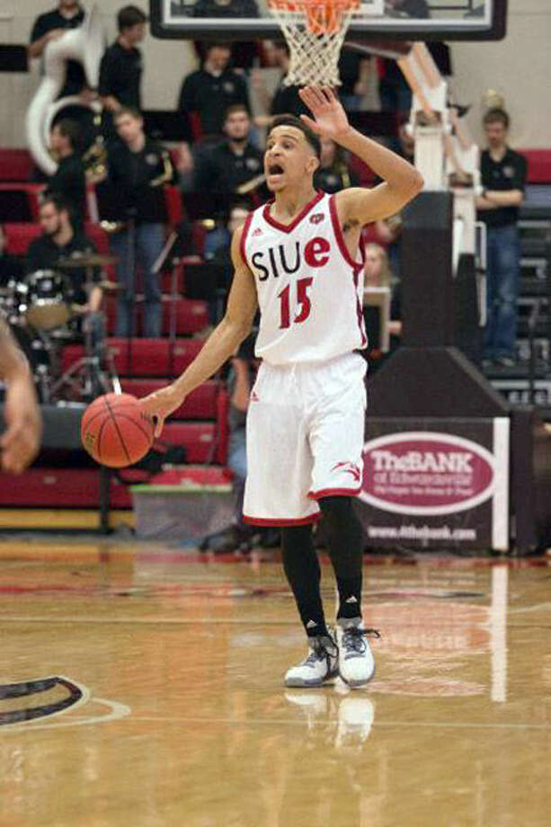 SIUE guard and Edwardsville graduate Josh White brings the ball up the court during Thursday's game against SEMO at the Vadalabene Center. Photo: SIUE Sports Information